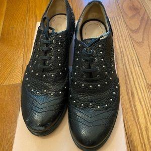 Authetic miumiu studs oxford shoes